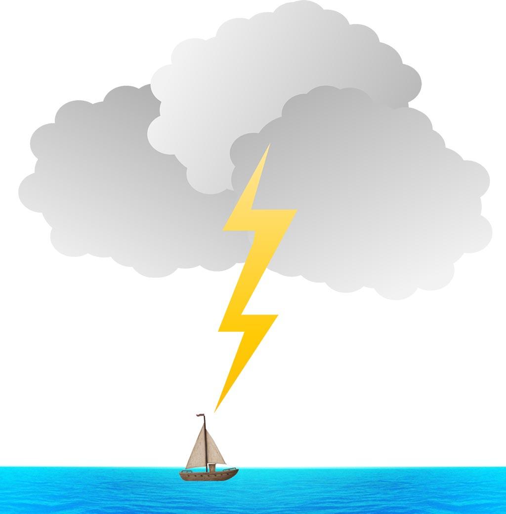 Navegar en medio de una tormenta eléctrica