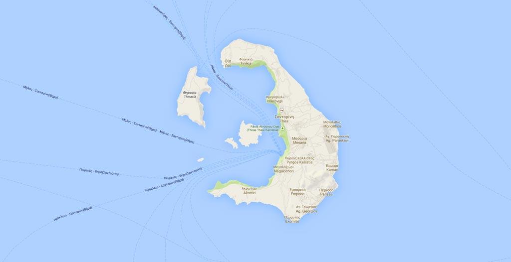mapa de Santorini que ver y hacer