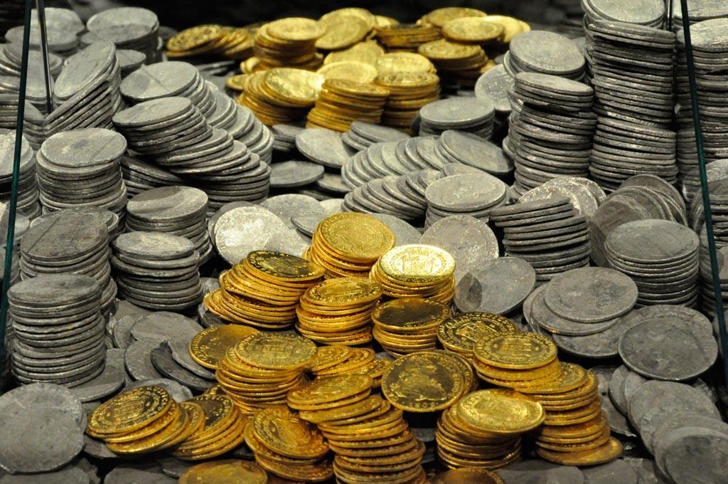 Monedas recuperadas de la Fragata Nuestra señora de las Mercedes