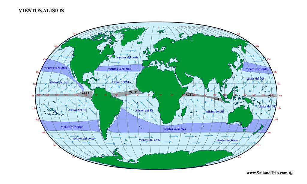 Vientos alisios, mapa global