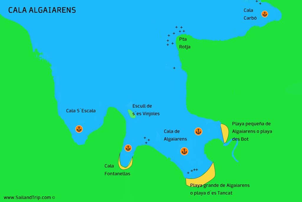 Fondear en Cala Algaiarens en Menorca