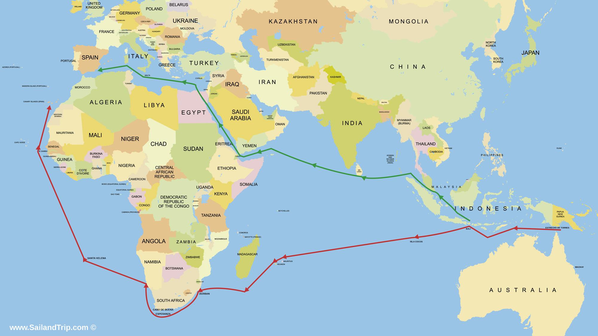 Oceano índico a vela