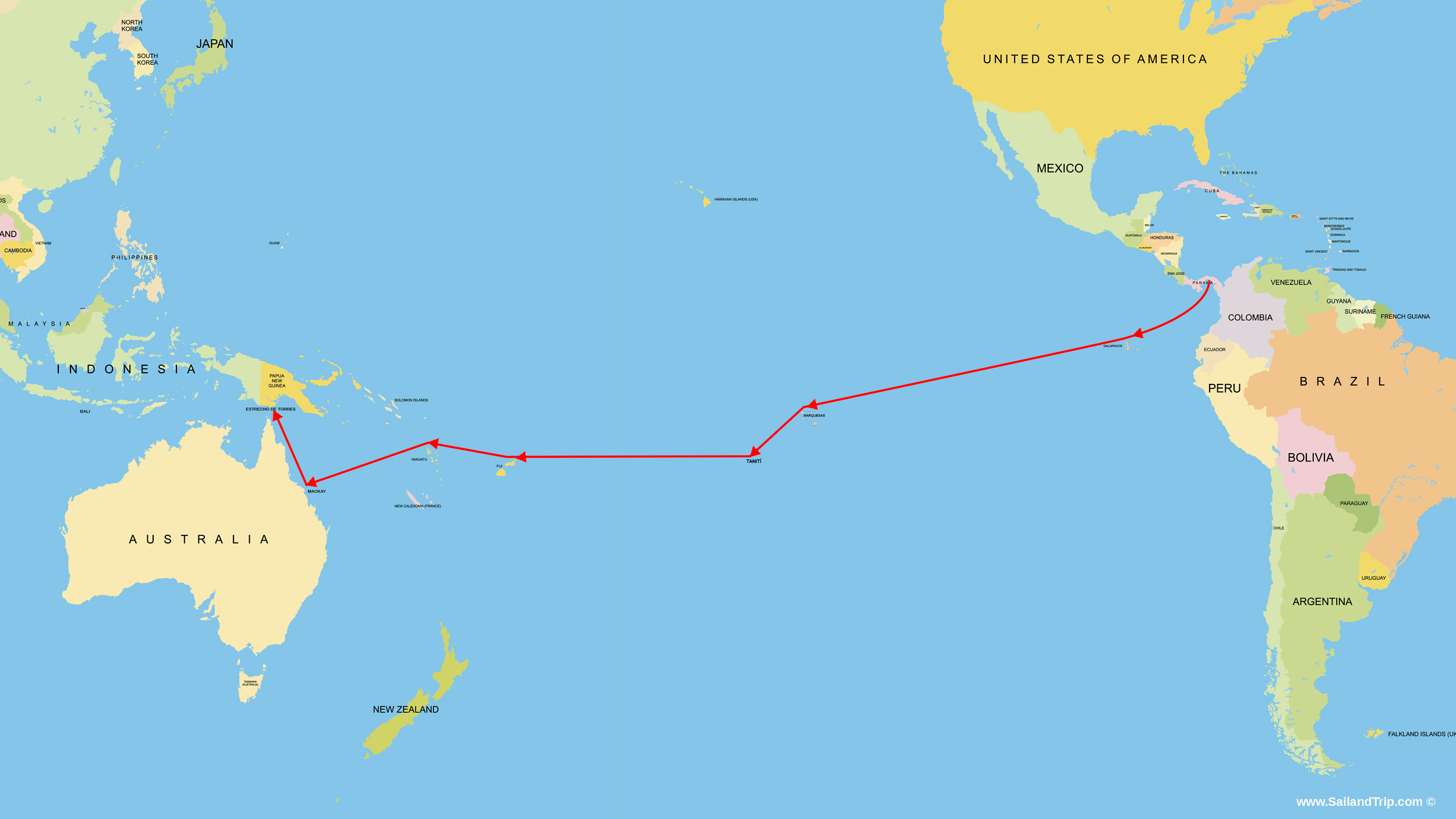 Rutas a vela del Océano Pacífico