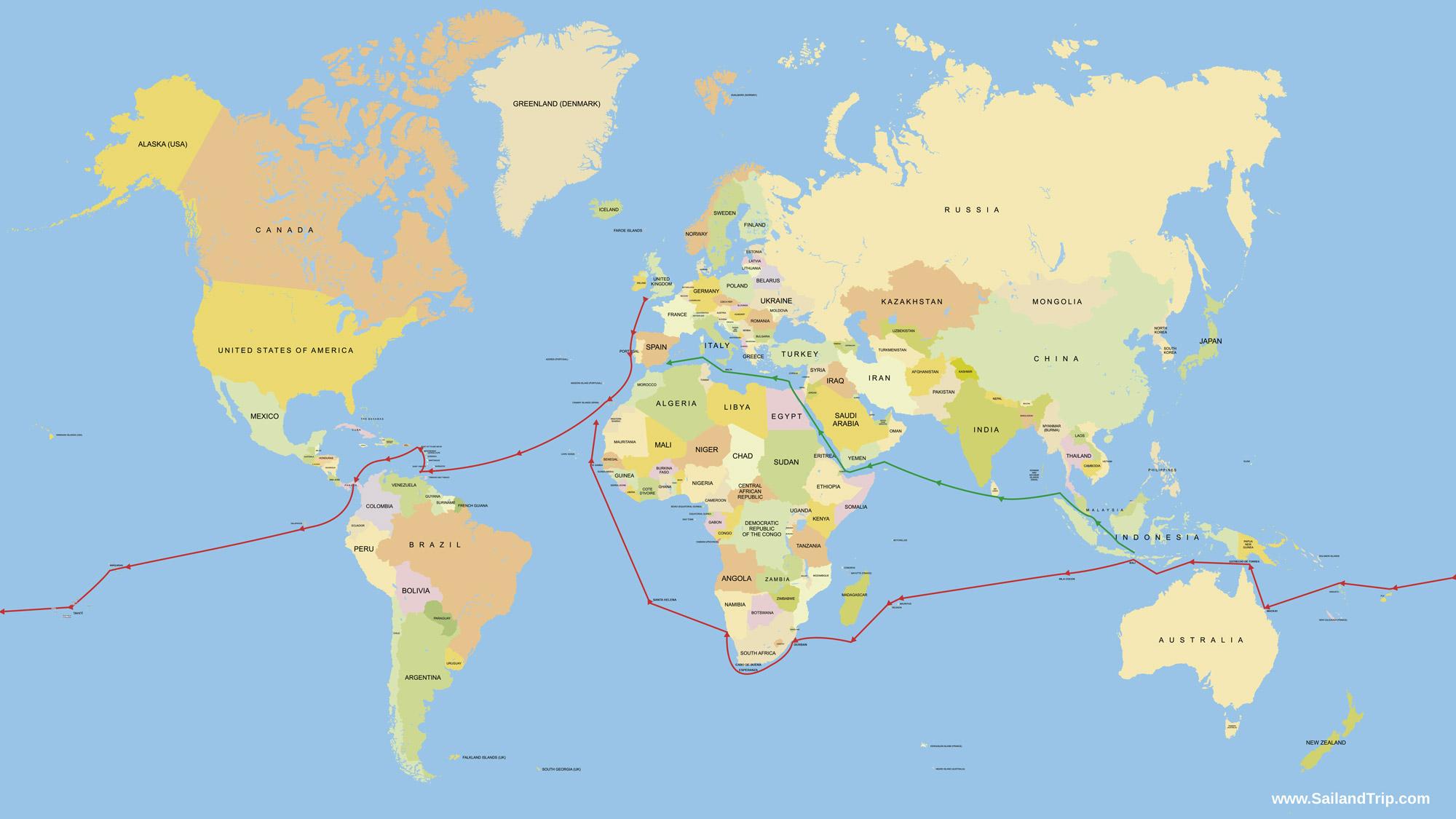 La vuelta al mundo a vela: Rutas de navegación
