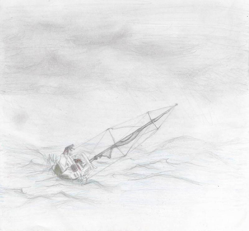 Dibujo velero en tormenta