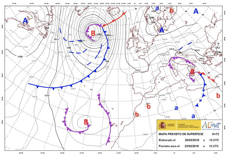 Mapa de frentes con frente frío